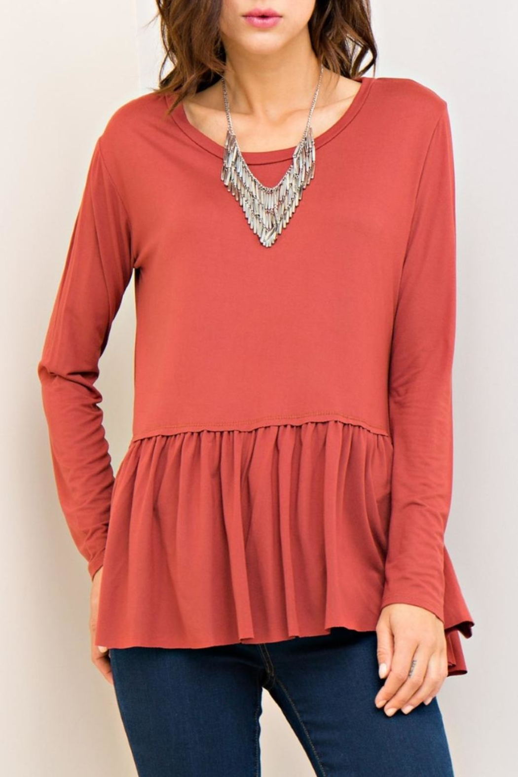 Entro Marsala Peplum Top - Front Cropped Image