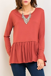 Entro Marsala Peplum Top - Front cropped