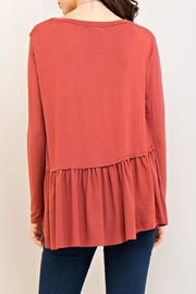 Entro Marsala Peplum Top - Front full body