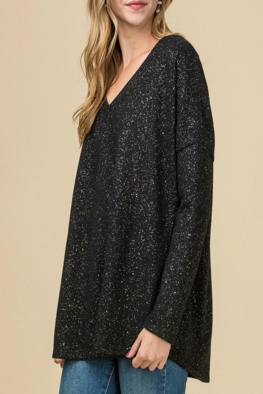 Entro Metallic Speckled Top - Back Cropped Image