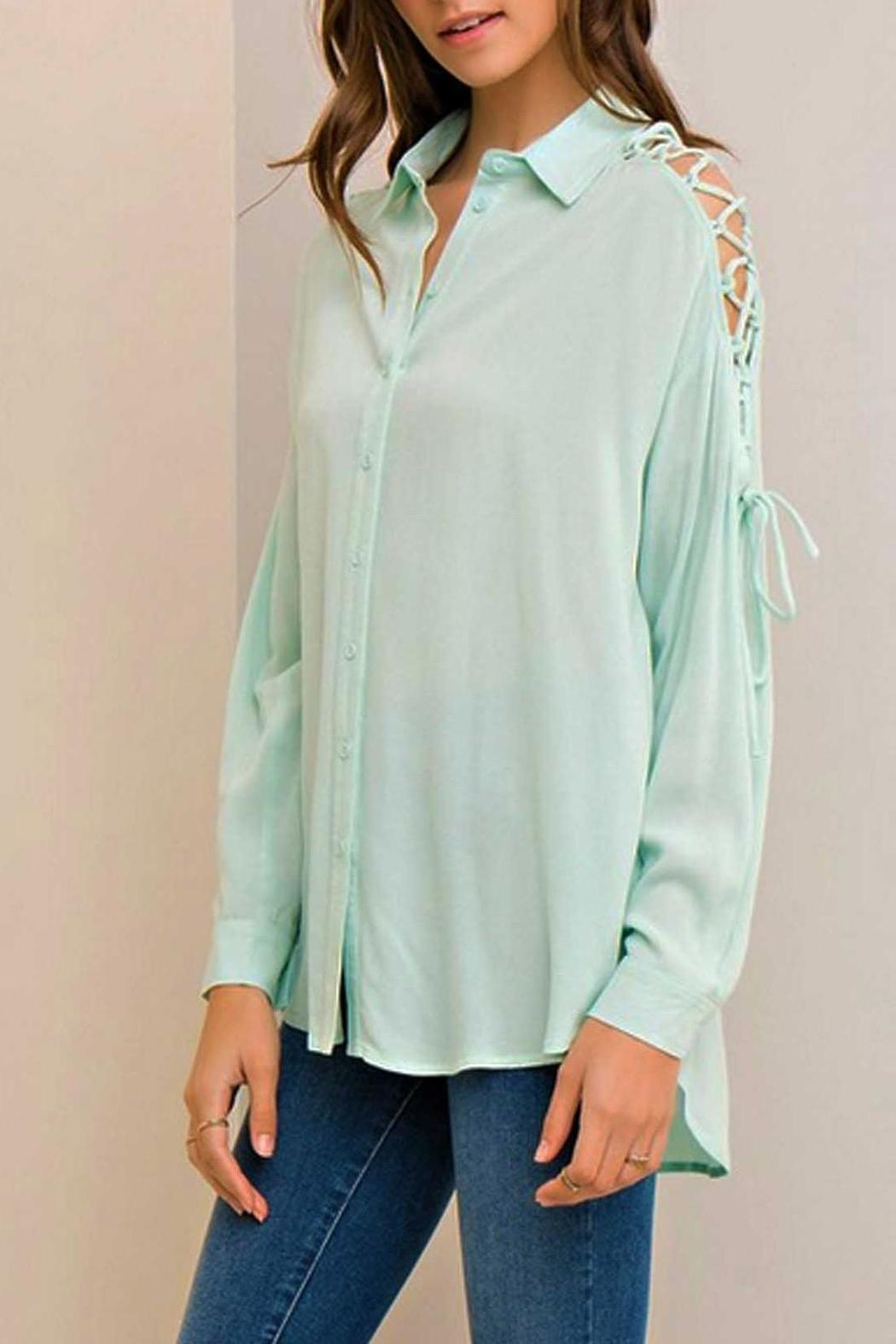 Entro Mint Tie Blouse - Side Cropped Image