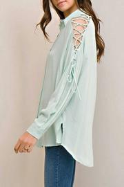 Entro Mint Tie Blouse - Front full body