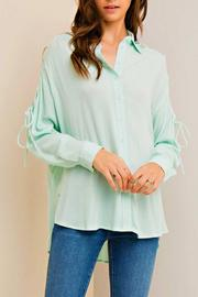 Entro Mint Tie Blouse - Product Mini Image