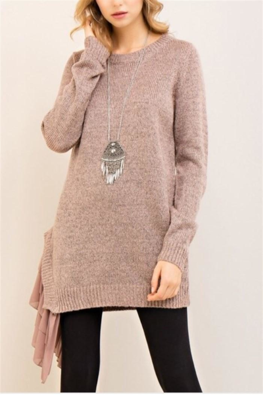 Entro Mocha Asymmetrical Sweater - Main Image