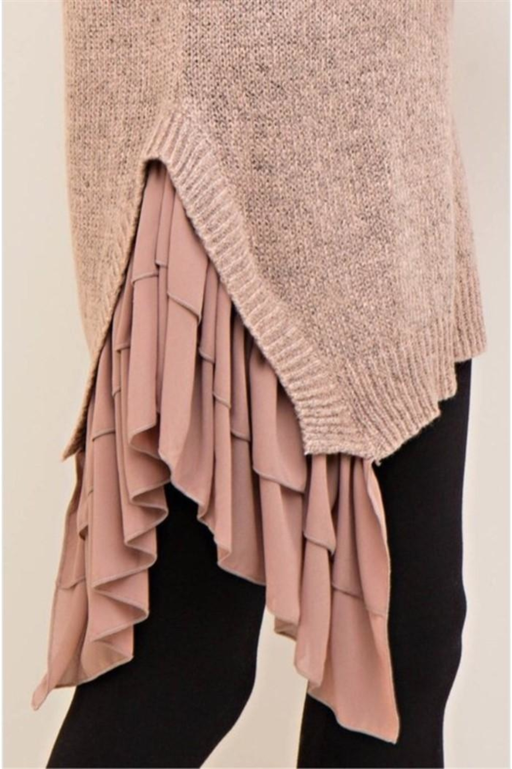 Entro Mocha Asymmetrical Sweater - Side Cropped Image