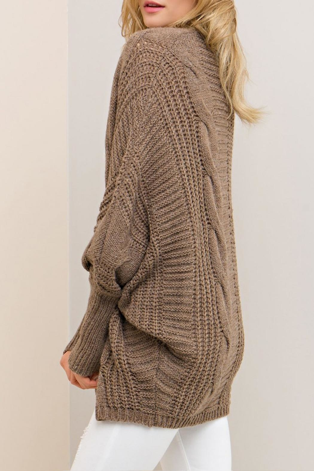 Entro Mocha Open Cardigan - Back Cropped Image