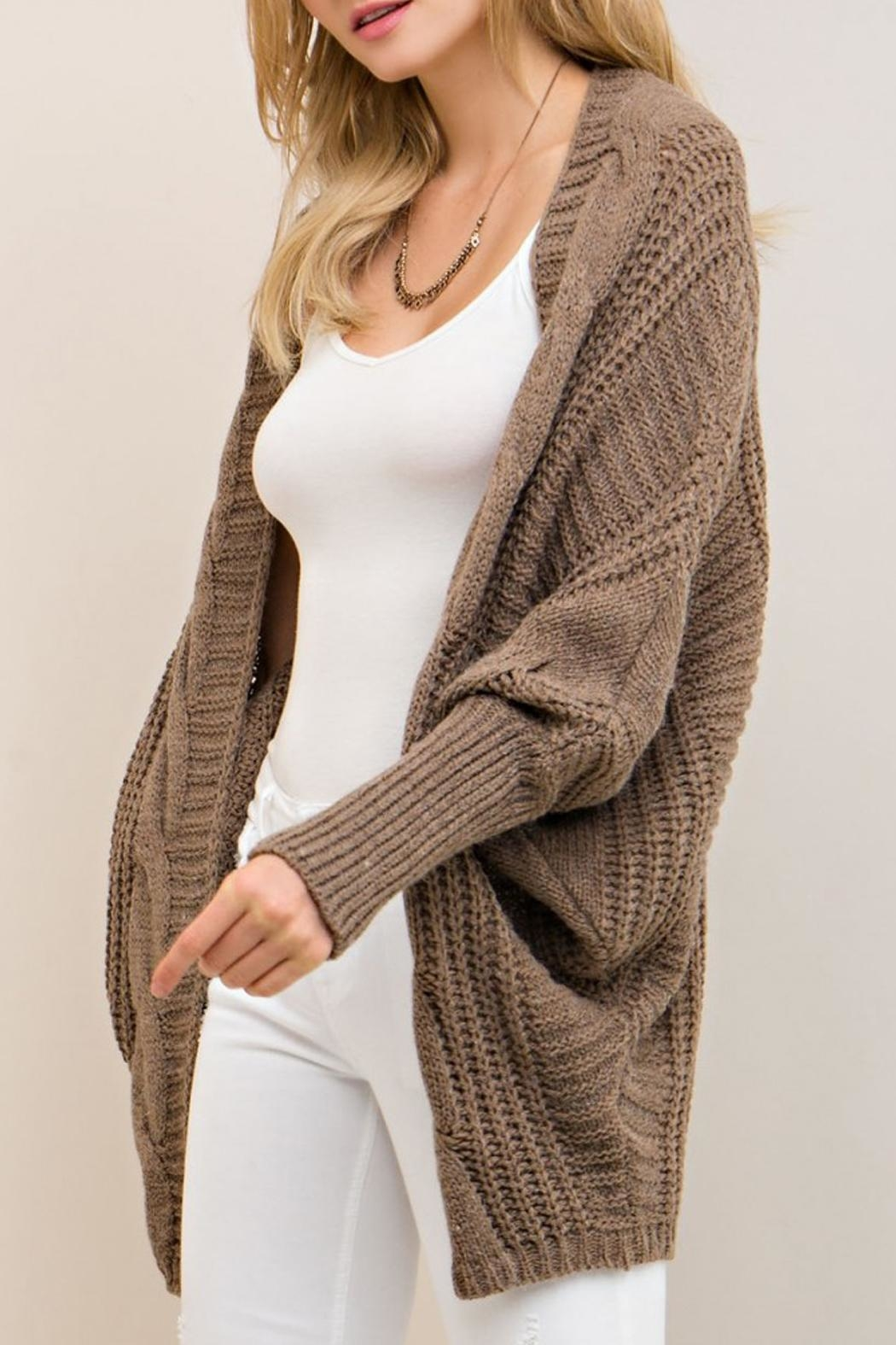 Entro Mocha Open Cardigan - Side Cropped Image