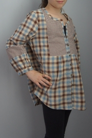 Entro Multiplaid Peasant Top - Front cropped