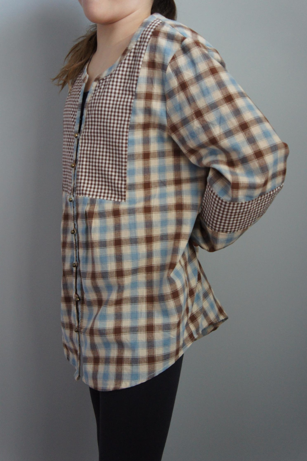 Entro Multiplaid Peasant Top - Side Cropped Image