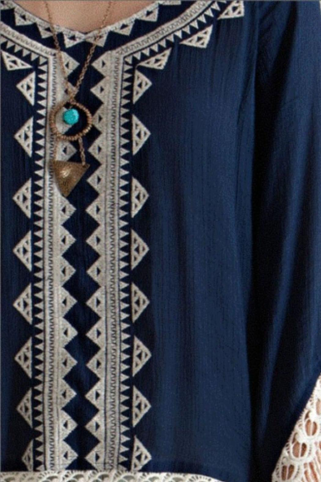 Entro Navy Embroidered Tunic - Side Cropped Image