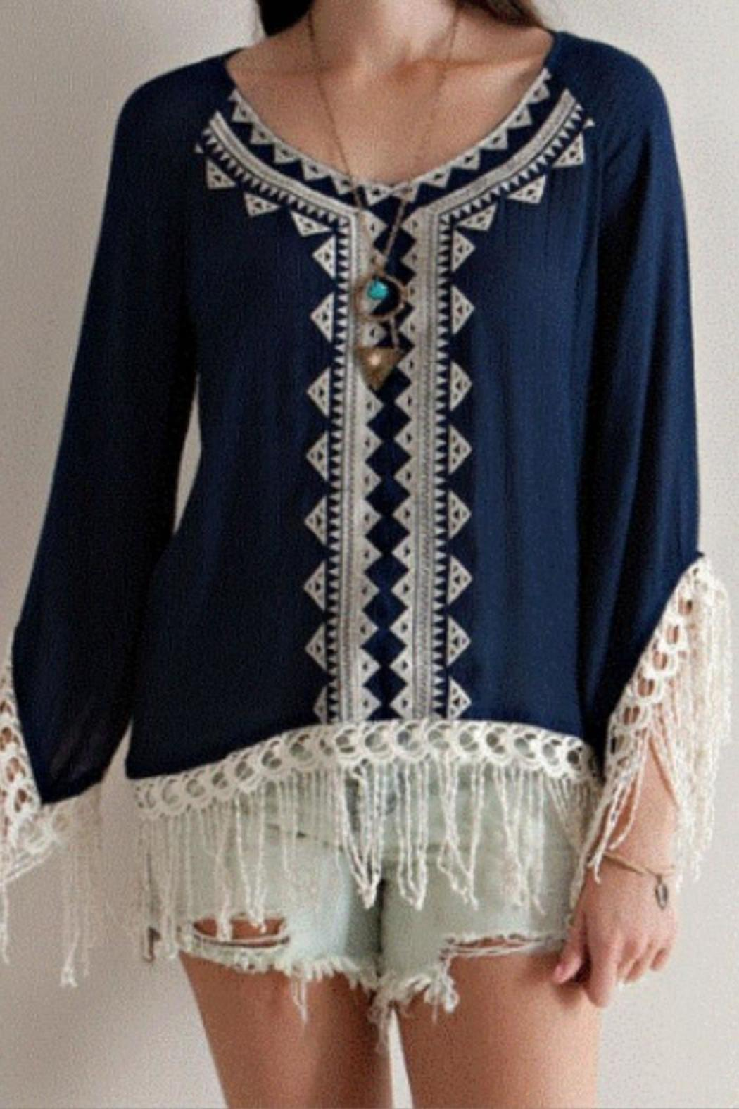Entro Navy Embroidered Tunic - Main Image
