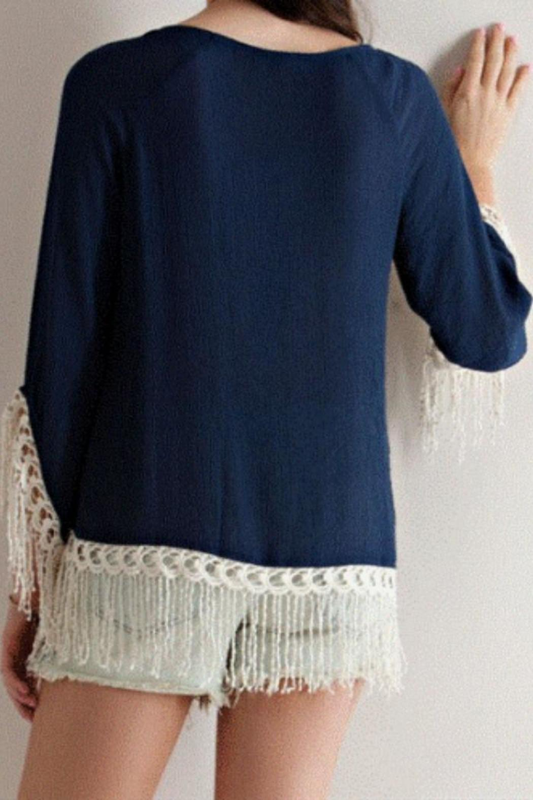 Entro Navy Embroidered Tunic - Front Full Image