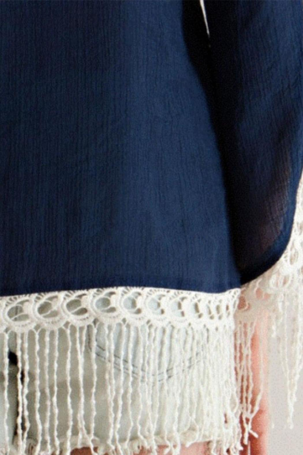 Entro Navy Embroidered Tunic - Back Cropped Image