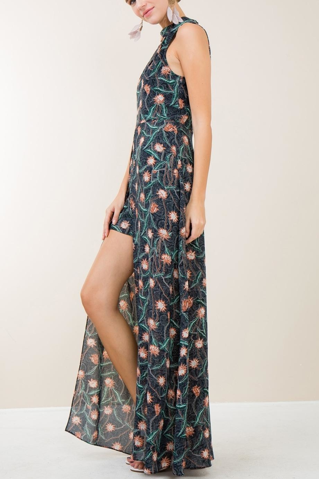 Entro Navy Floral Maxi - Front Full Image