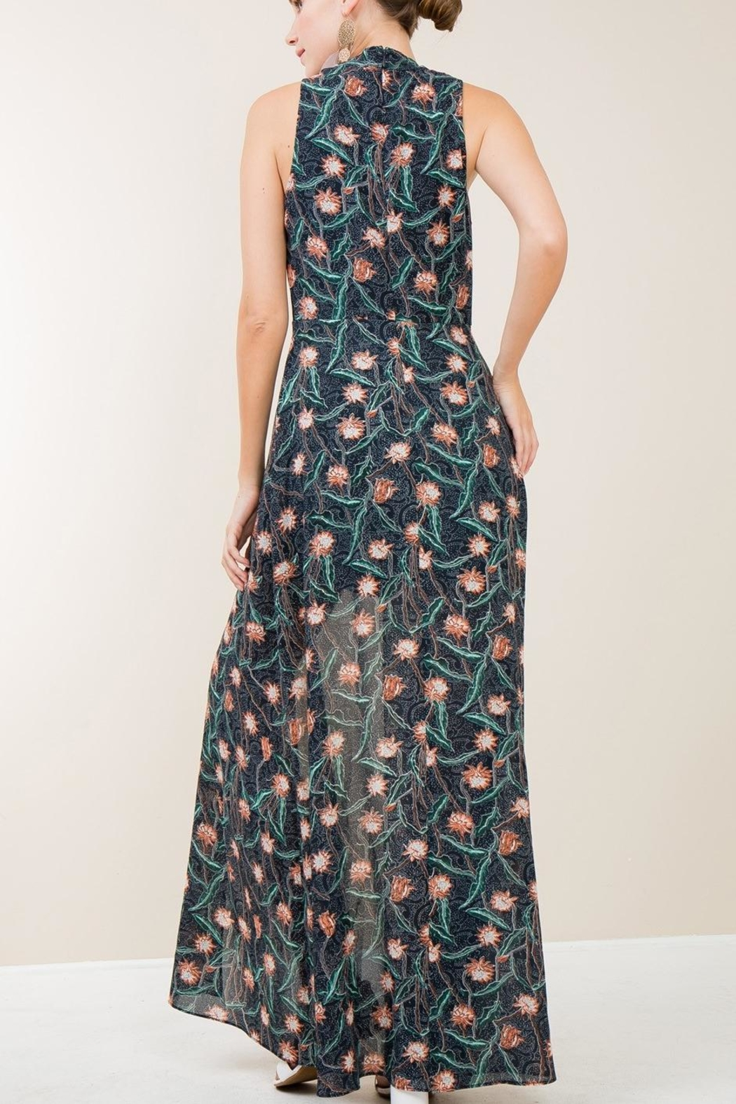 Entro Navy Floral Maxi - Side Cropped Image