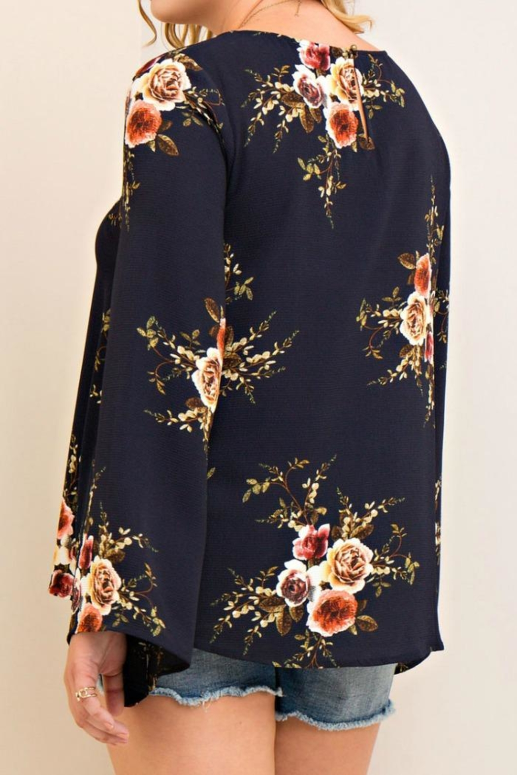 Entro Navy Floral Top - Side Cropped Image