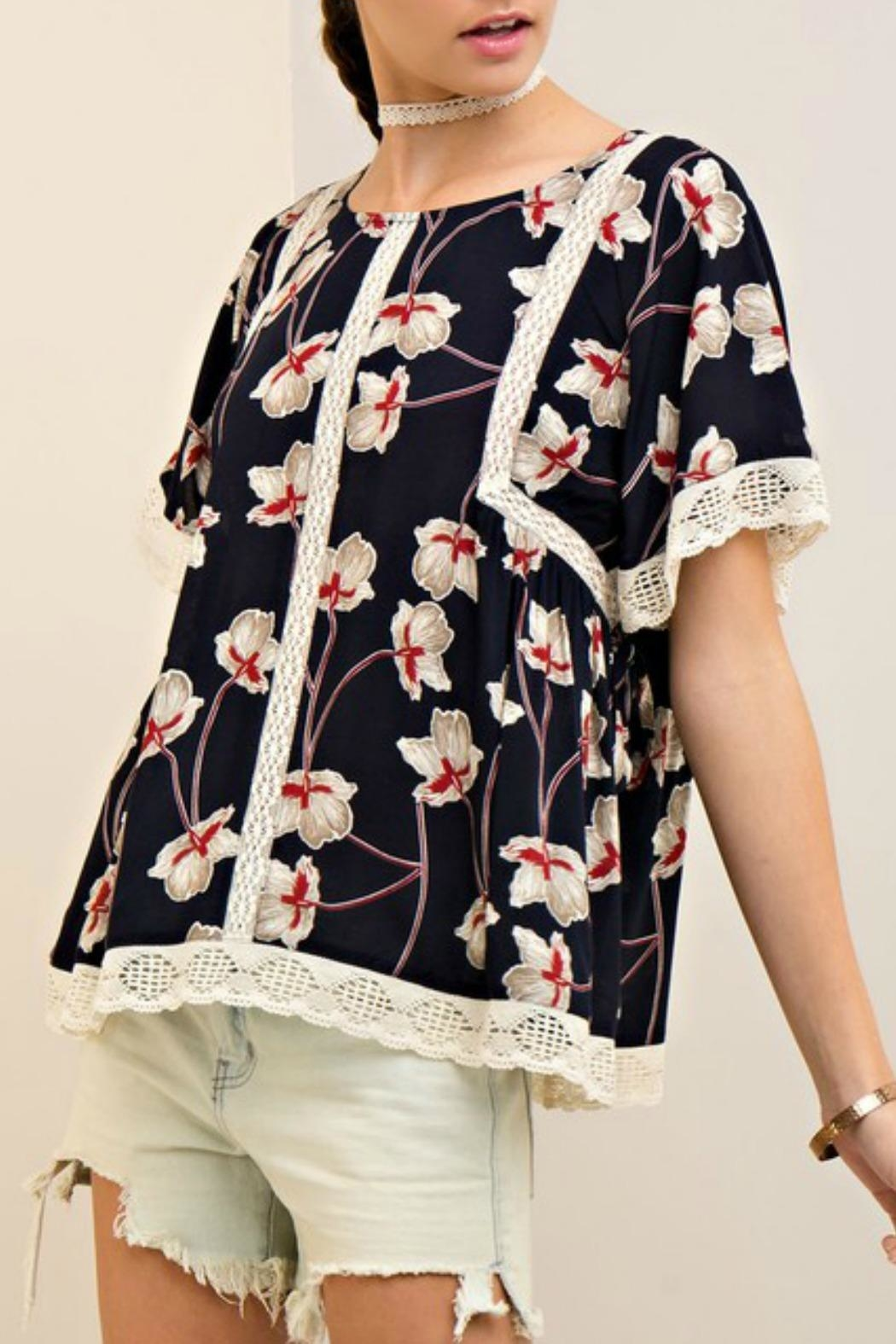 Entro Navy Floral Top - Main Image
