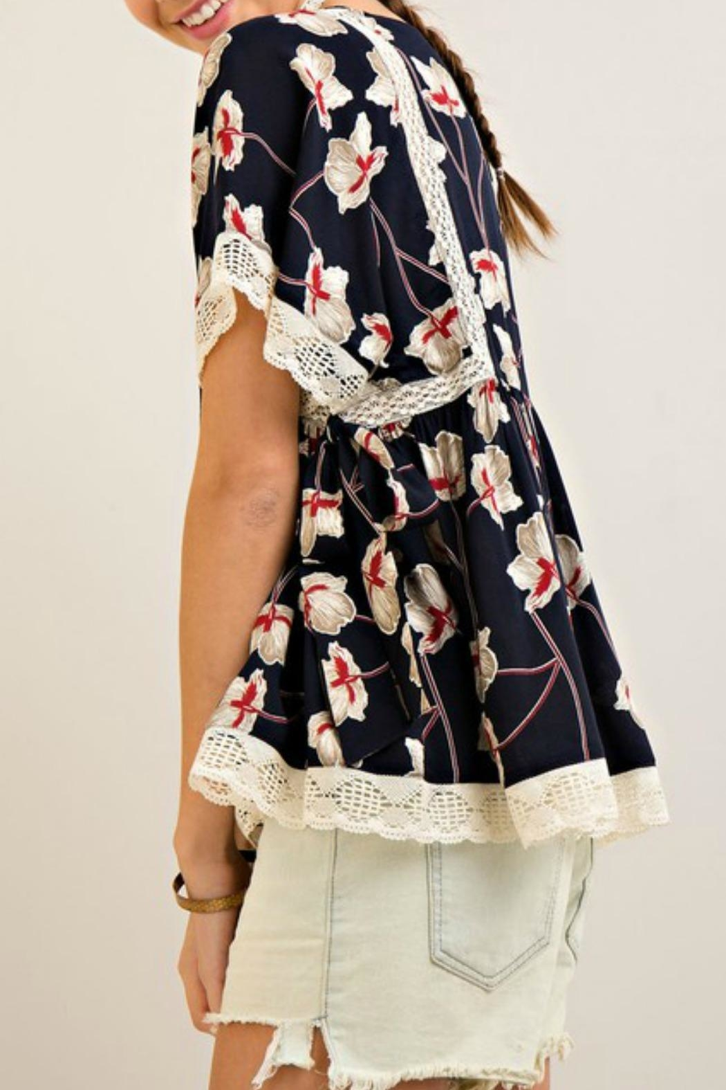 Entro Navy Floral Top - Front Full Image