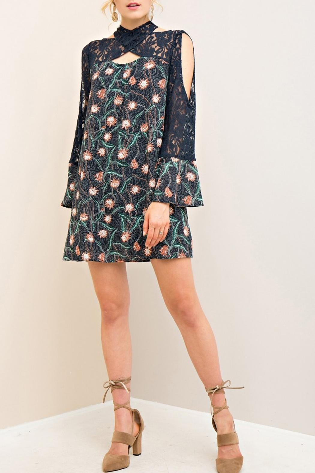 Entro Navy Lace Floral Dress - Main Image