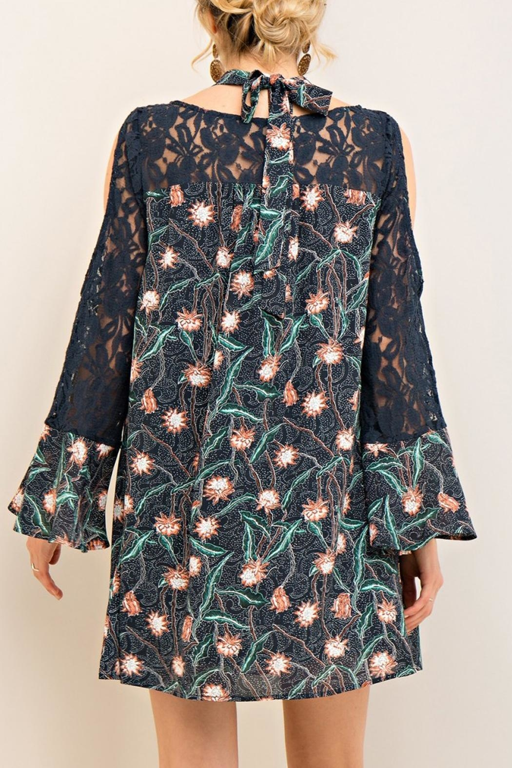 Entro Navy Lace Floral Dress - Back Cropped Image