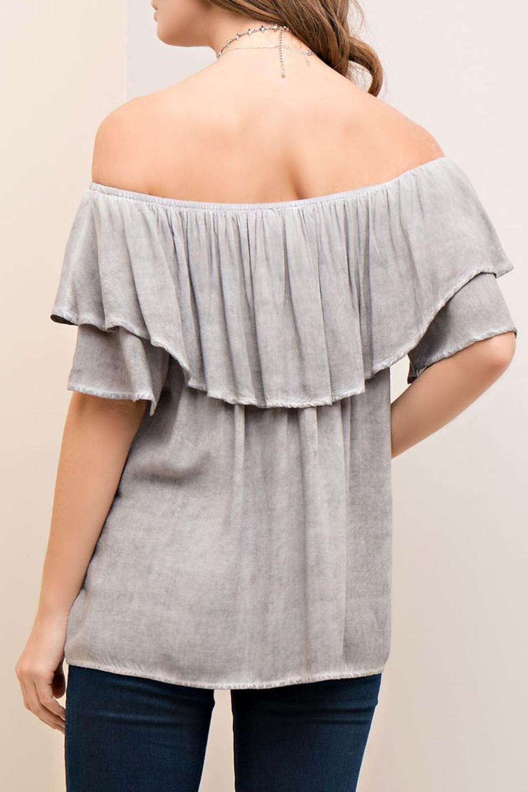 Entro Off-The-Shoulder Ruffle Top - Back Cropped Image