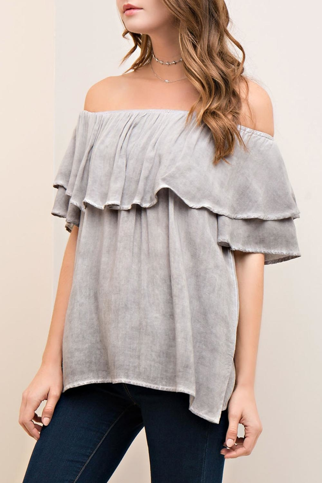 Entro Off-The-Shoulder Ruffle Top - Front Full Image