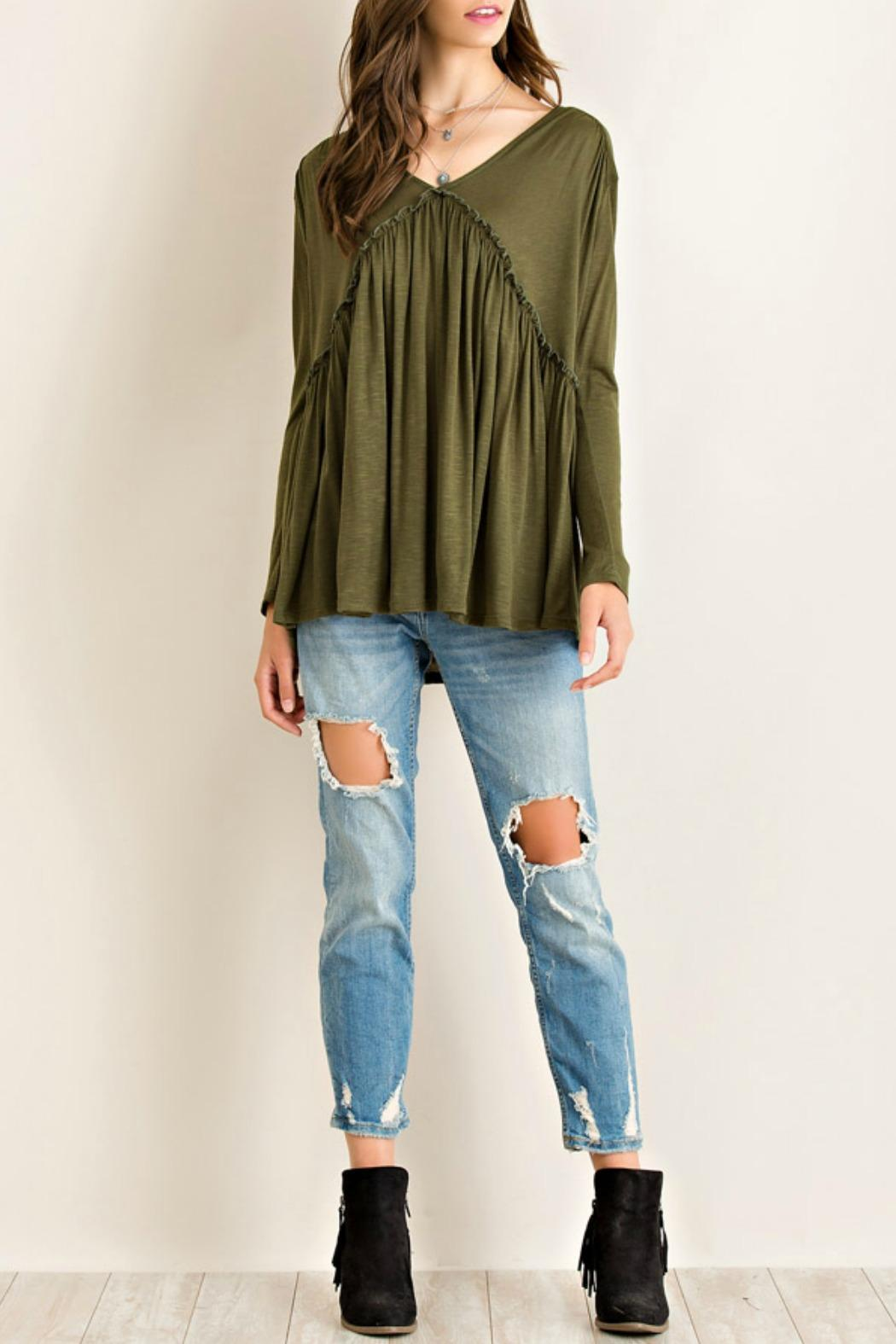 fc82c12848793 Entro Olive Babydoll Top from Texas by Red Poppy — Shoptiques