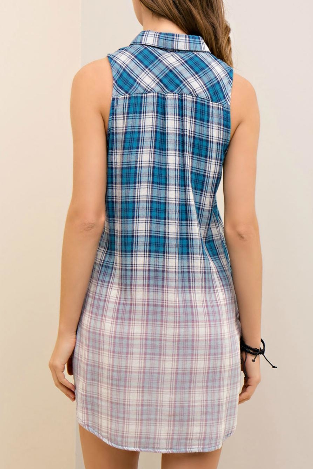 Entro Ombre Plaid Dress - Front Full Image