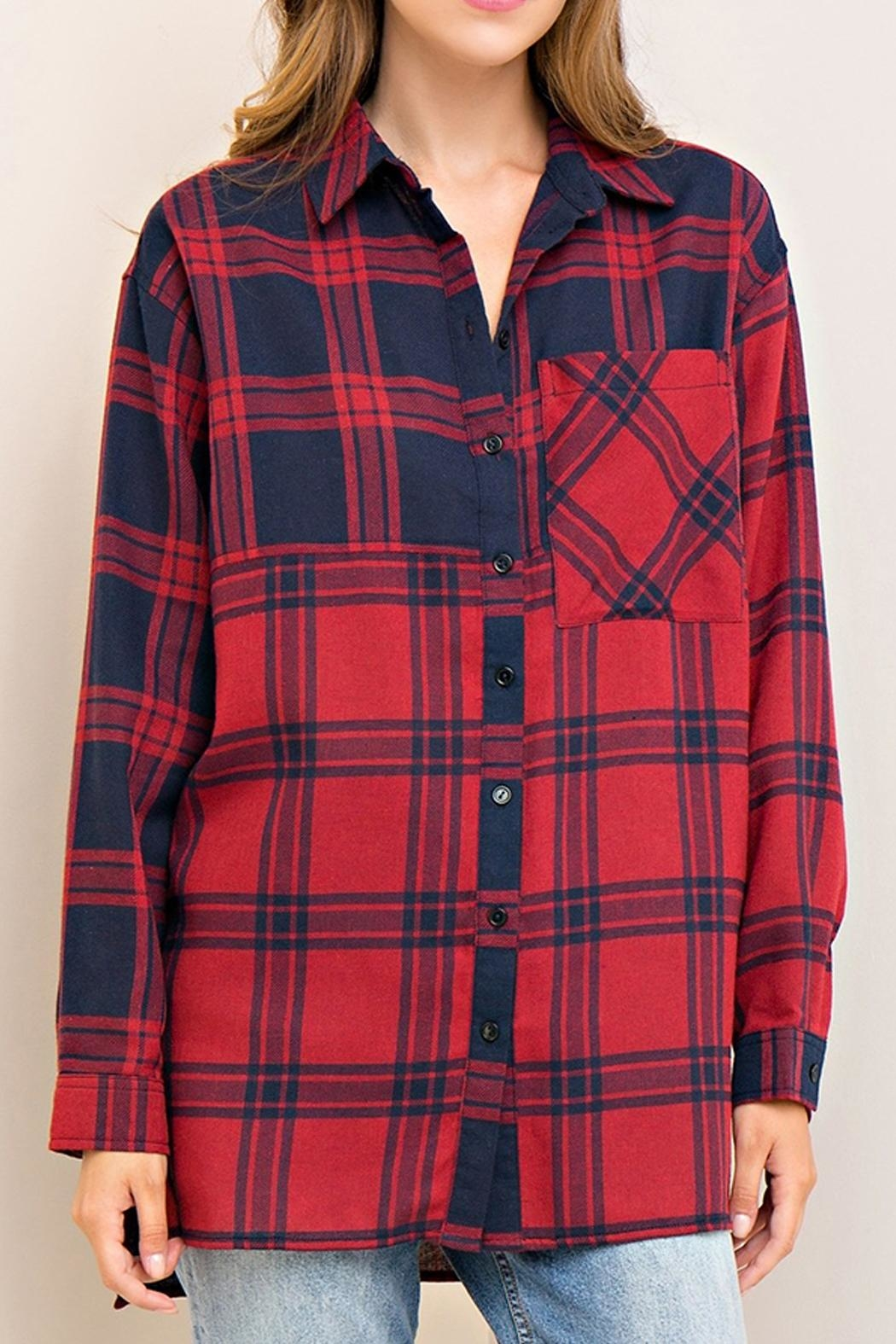 Entro Plaid Button Down Top - Front Cropped Image