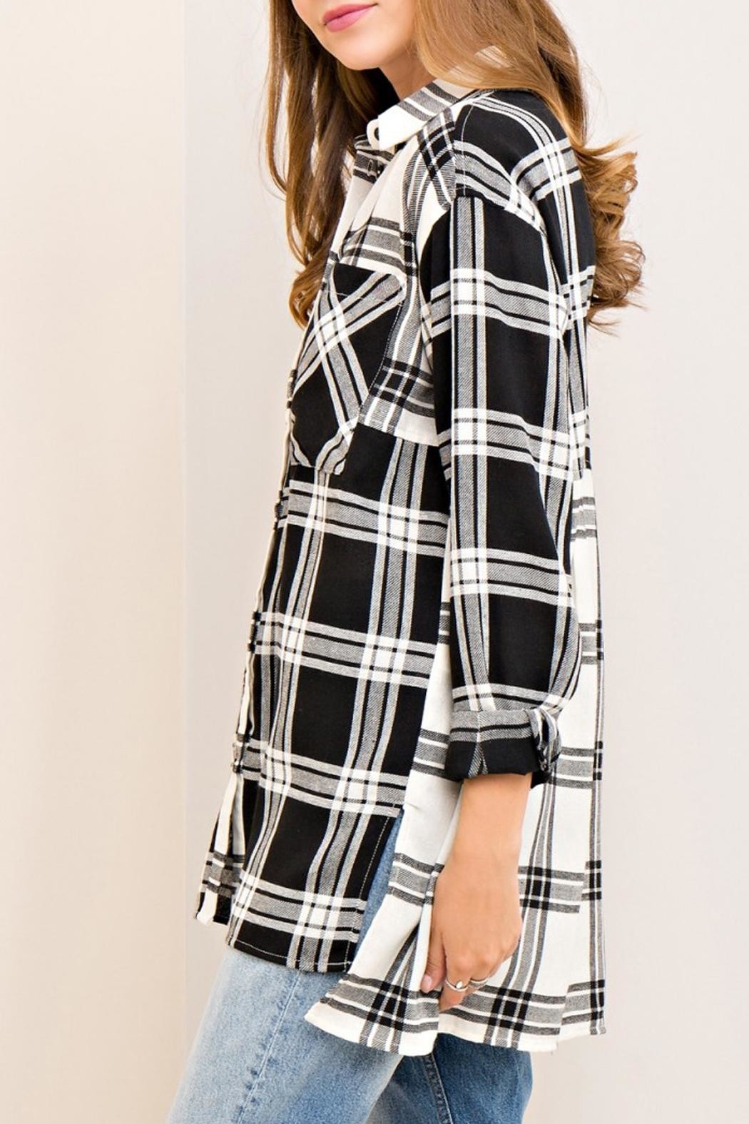 Entro Plaid Button Down Top - Back Cropped Image