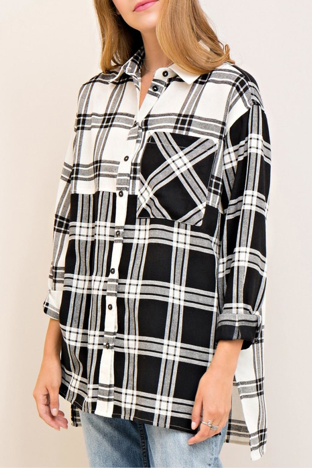 Entro Plaid Button Down Top - Side Cropped Image