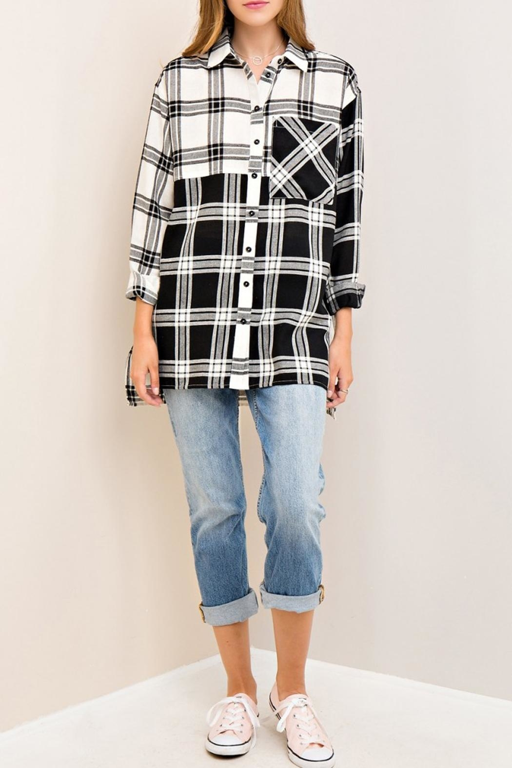 Entro Plaid Button Down Top - Front Full Image