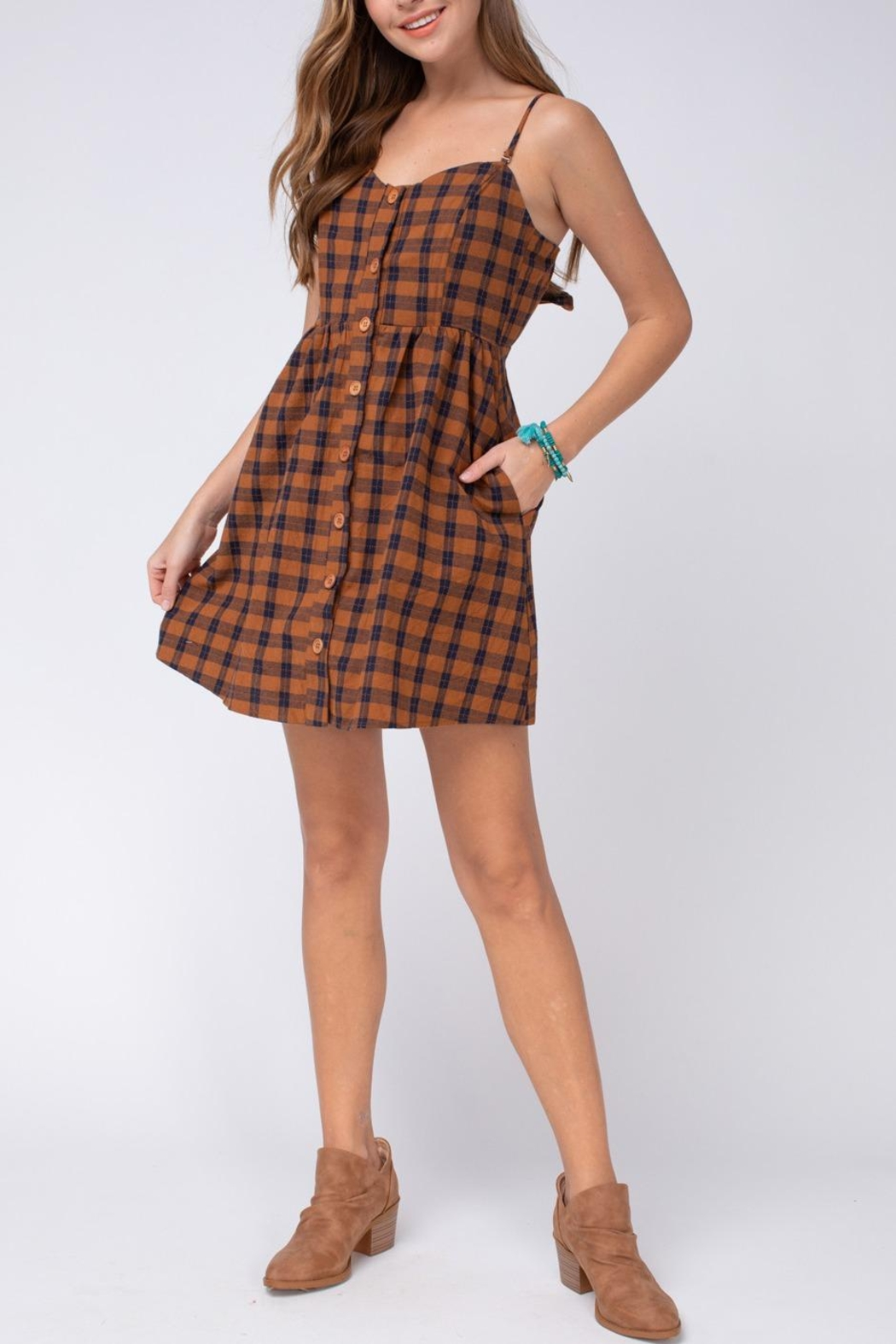 Entro Plaid Button-Up Dress - Front Cropped Image