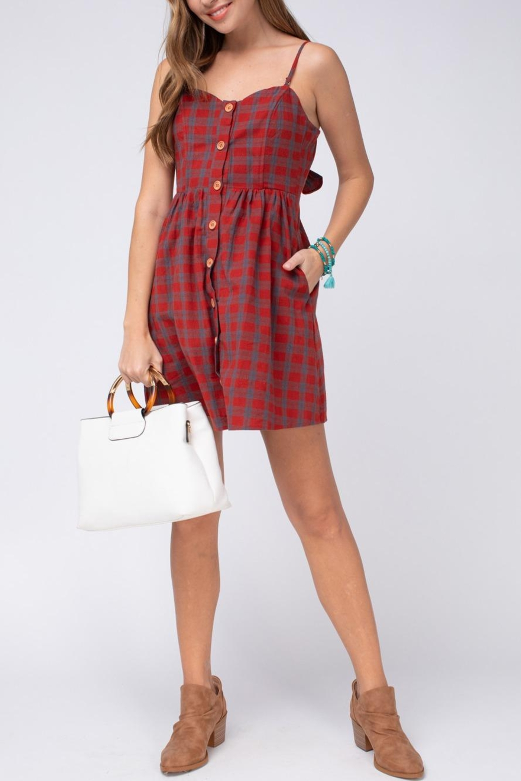 Entro Plaid Button-Up Dress - Front Full Image