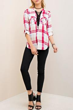Shoptiques Product: Plaid Lace Up Top