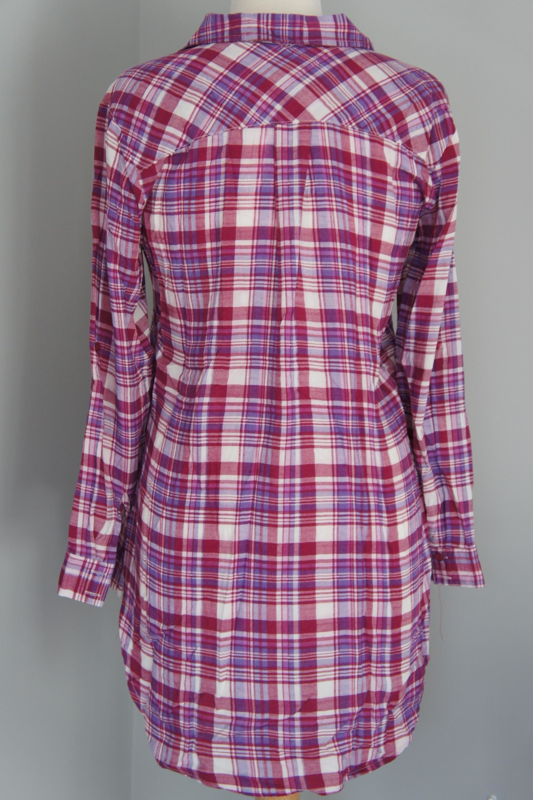 Entro Plaid Long Shirt - Side Cropped Image