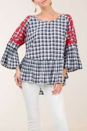 Entro Plaid Peplum Top - Product Mini Image