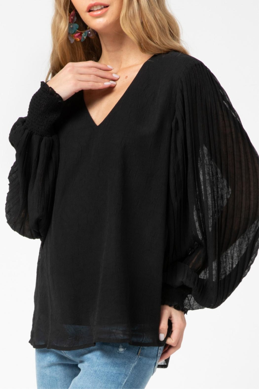 Entro Pleated Sleeve Top - Side Cropped Image