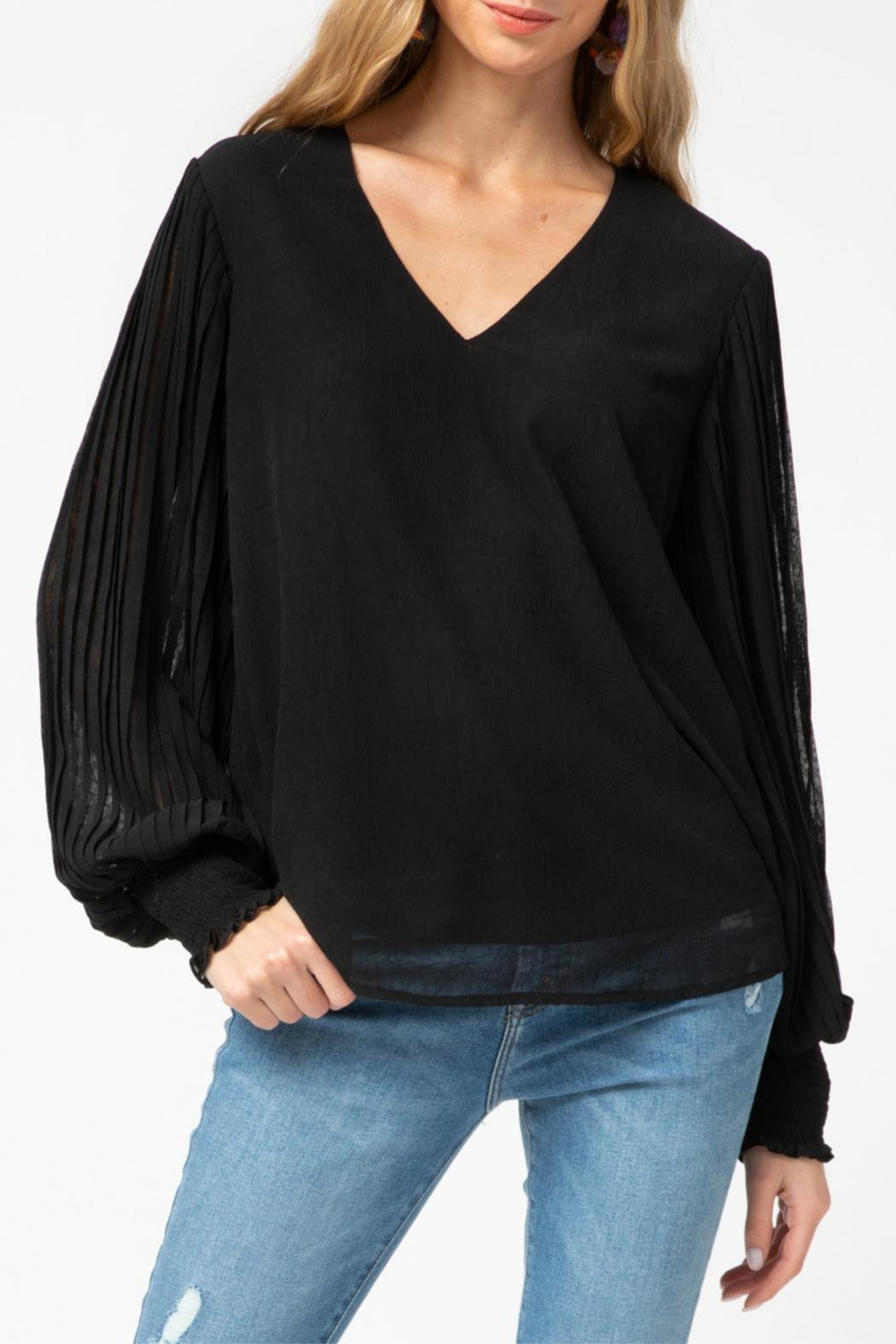 Entro Pleated Sleeve Top - Main Image