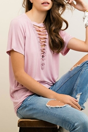Entro Plunging Lace-Up T-Shirt - Product Mini Image