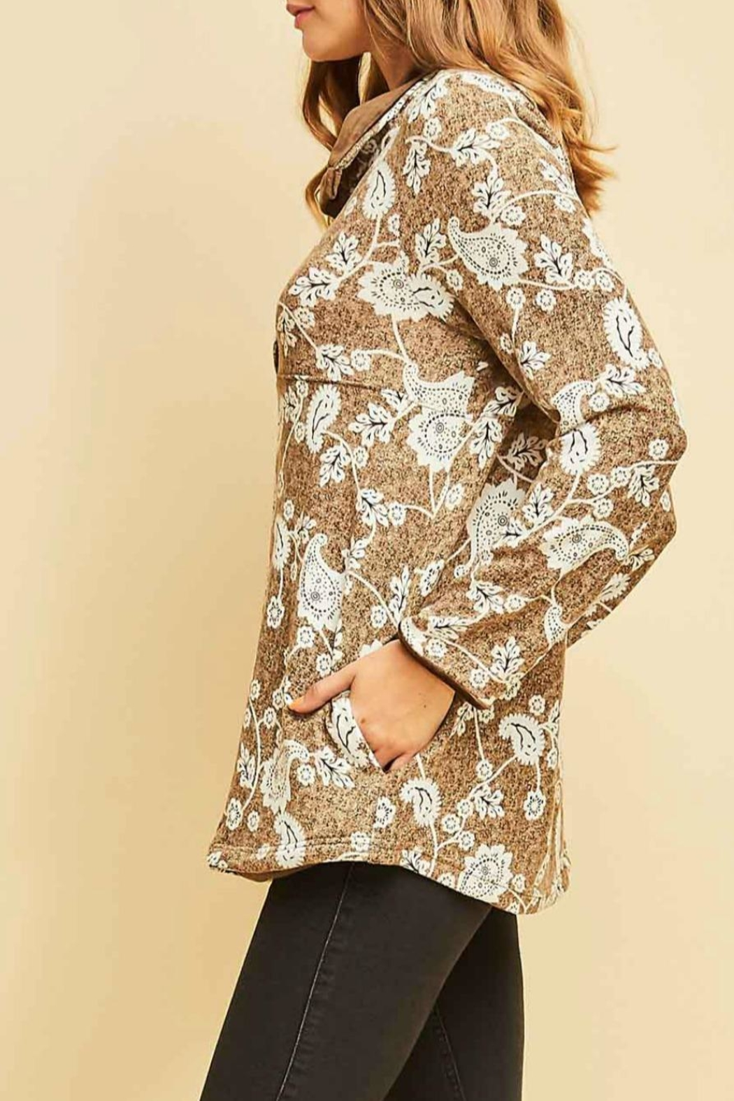 Entro Print Pullover Top - Front Full Image