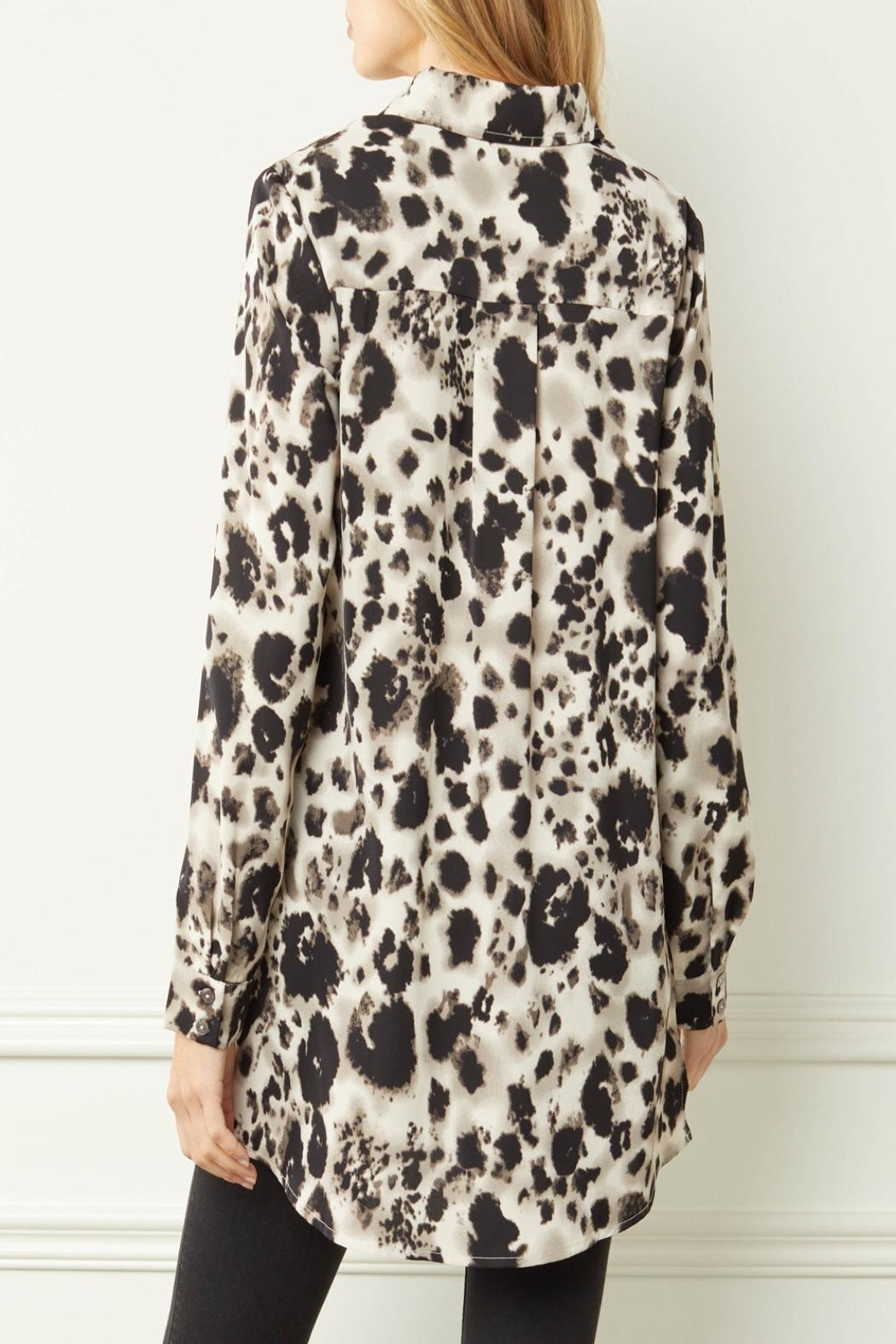 Entro Printed Button-Down Top - Front Full Image