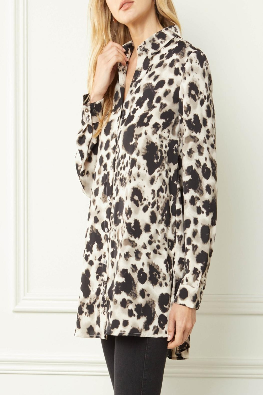 Entro Printed Button-Down Top - Side Cropped Image