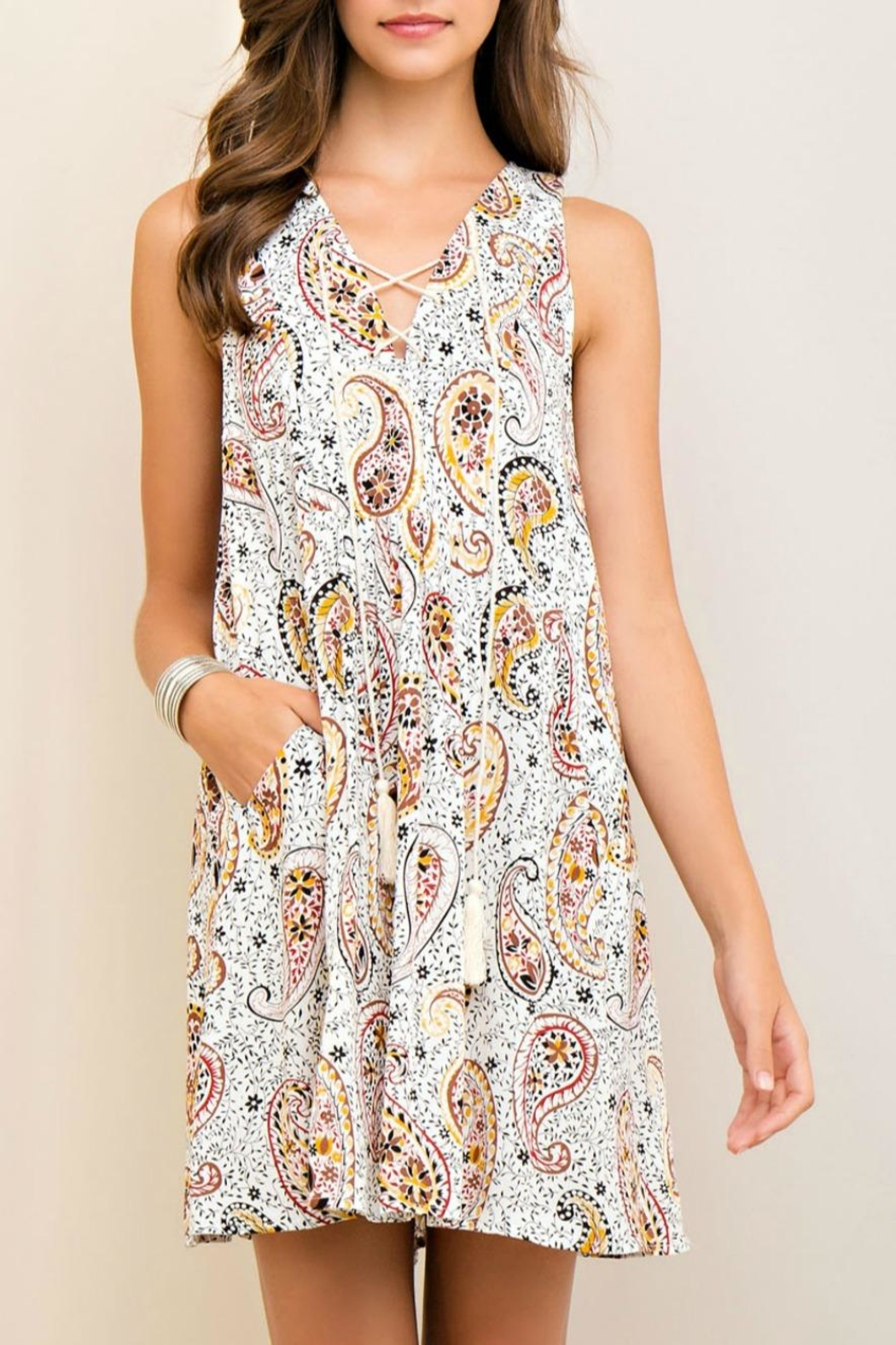 Entro Printed Dress - Front Cropped Image