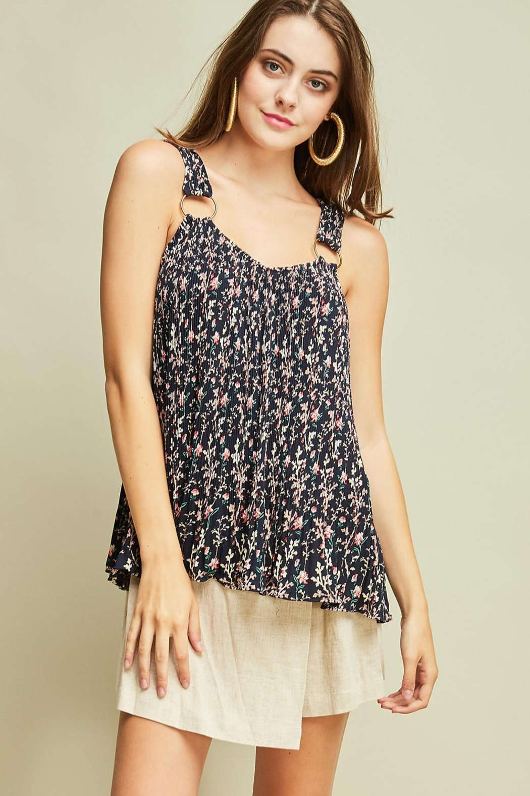 Entro Printed Pleated Top - Main Image