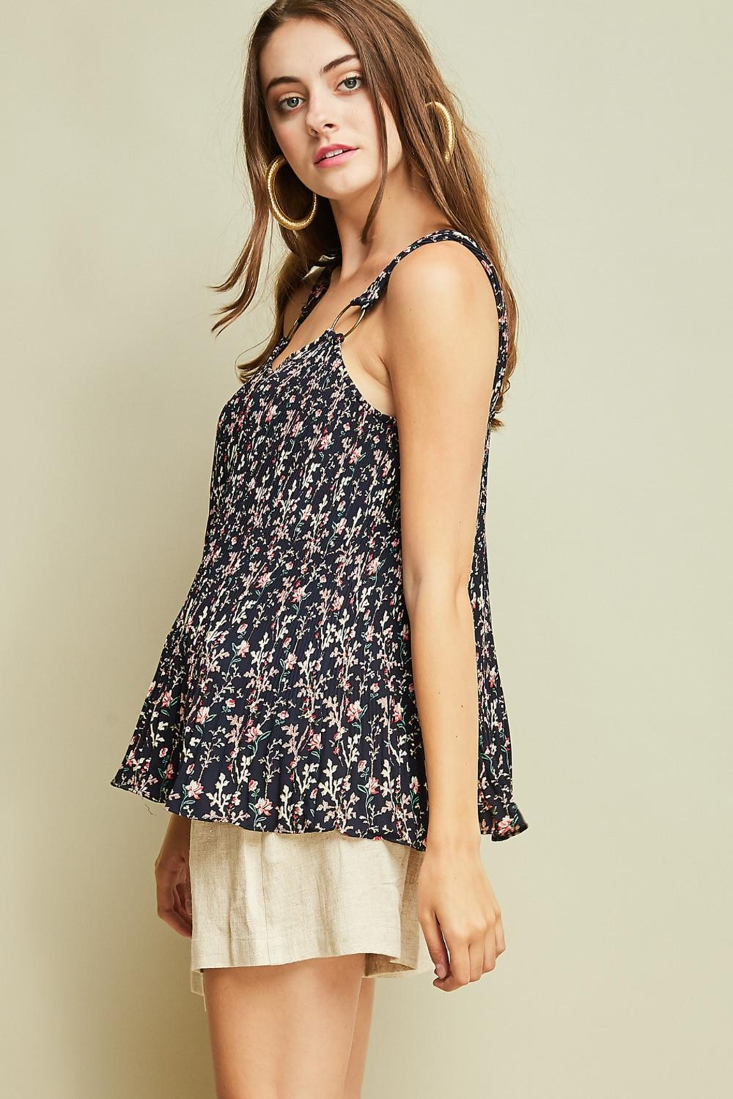 Entro Printed Pleated Top - Front Full Image