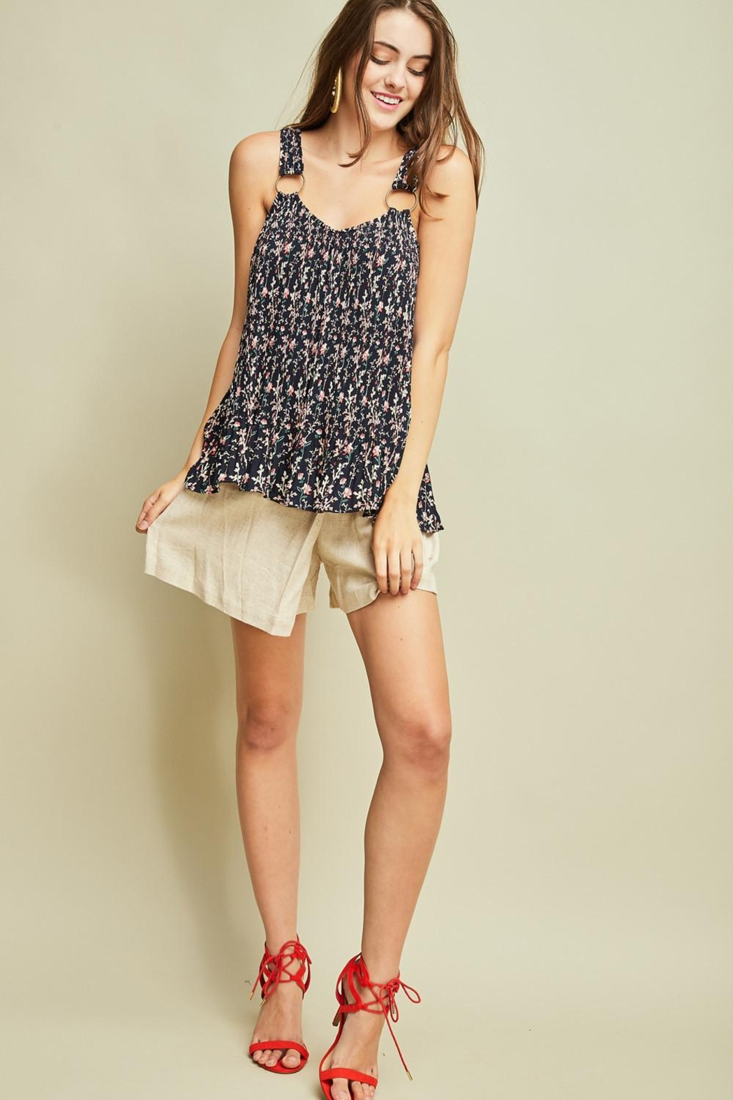 Entro Printed Pleated Top - Back Cropped Image