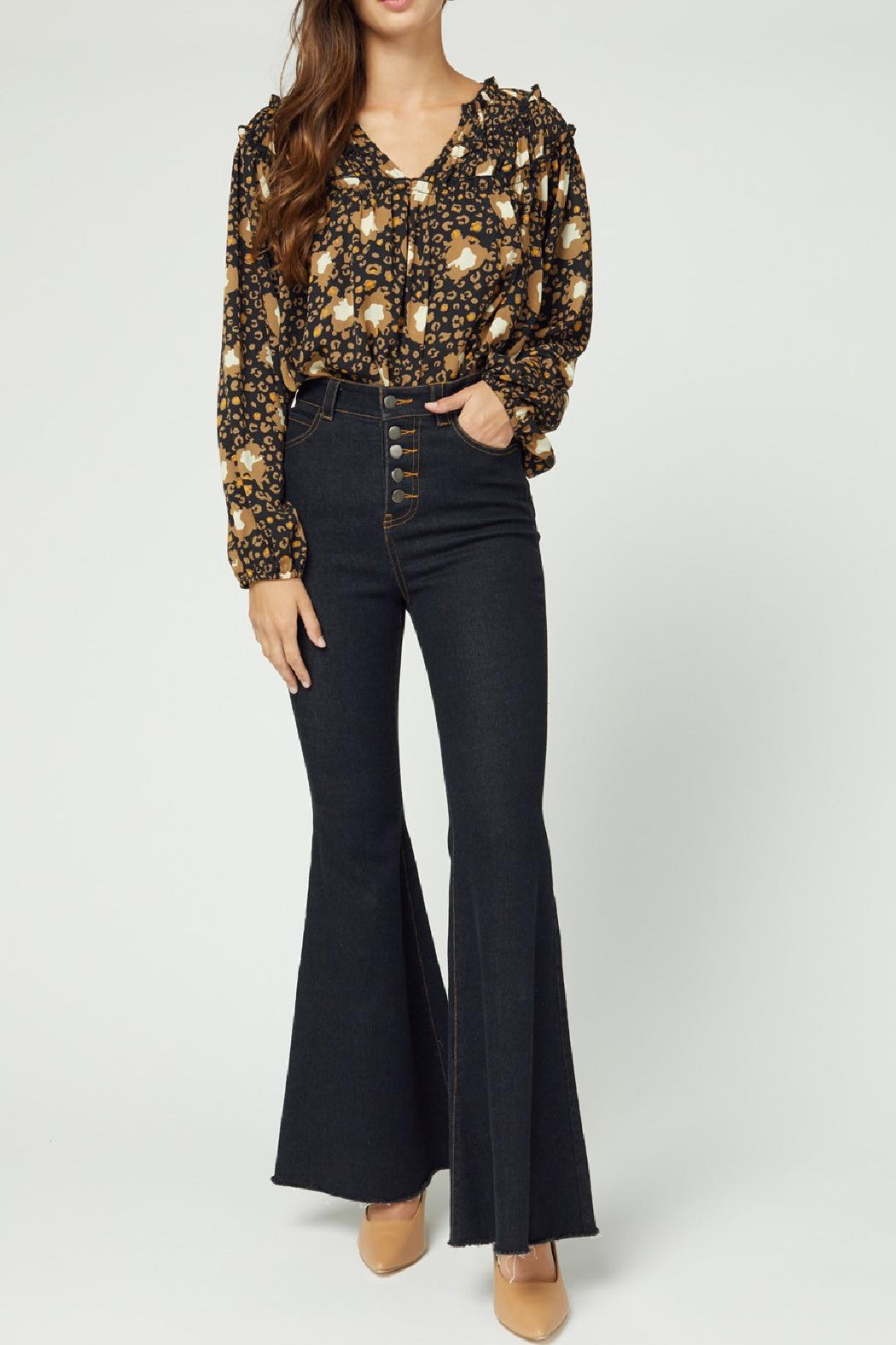 Entro Printed Ruffle Top - Front Full Image