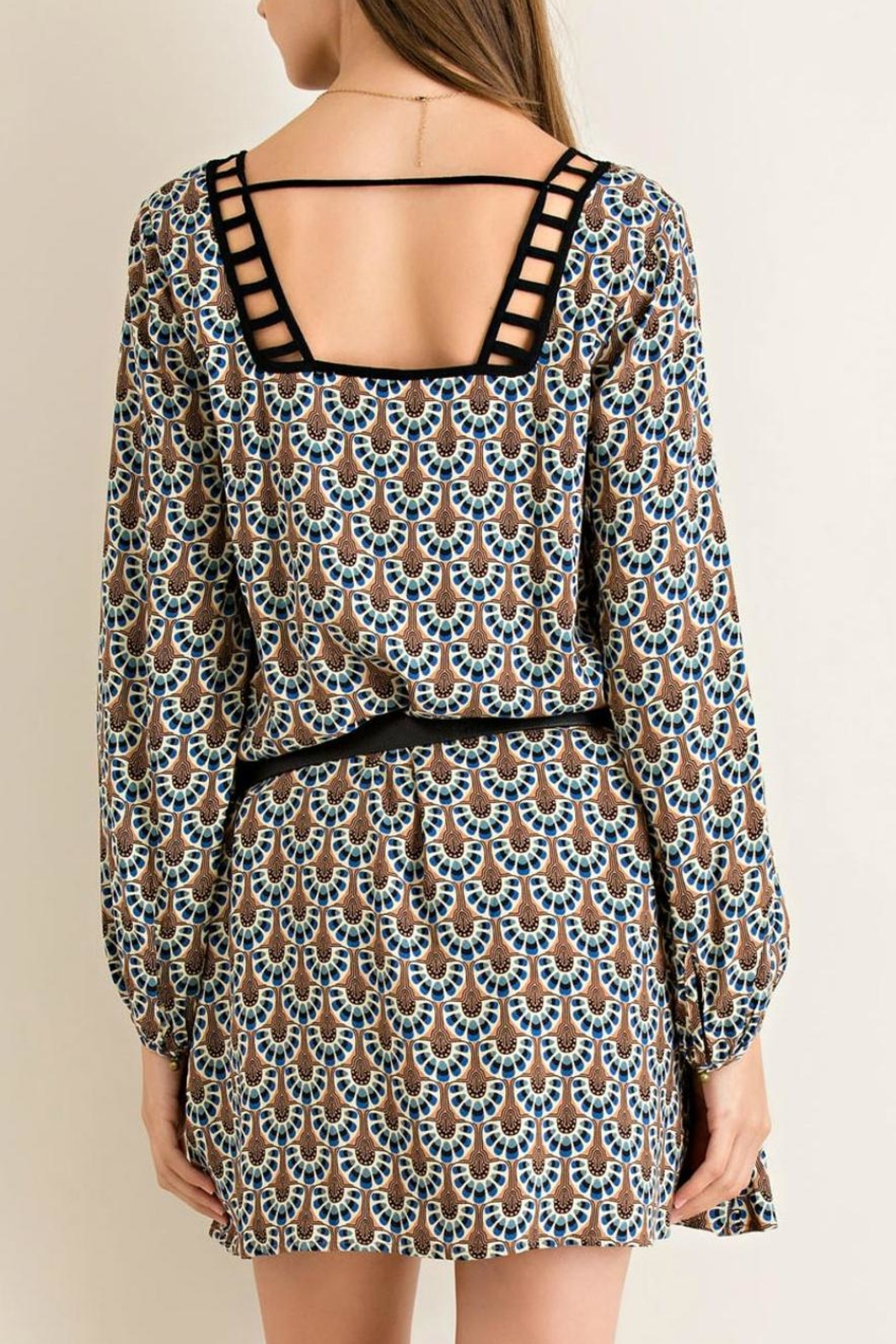 Entro Printed Shift Dress - Side Cropped Image