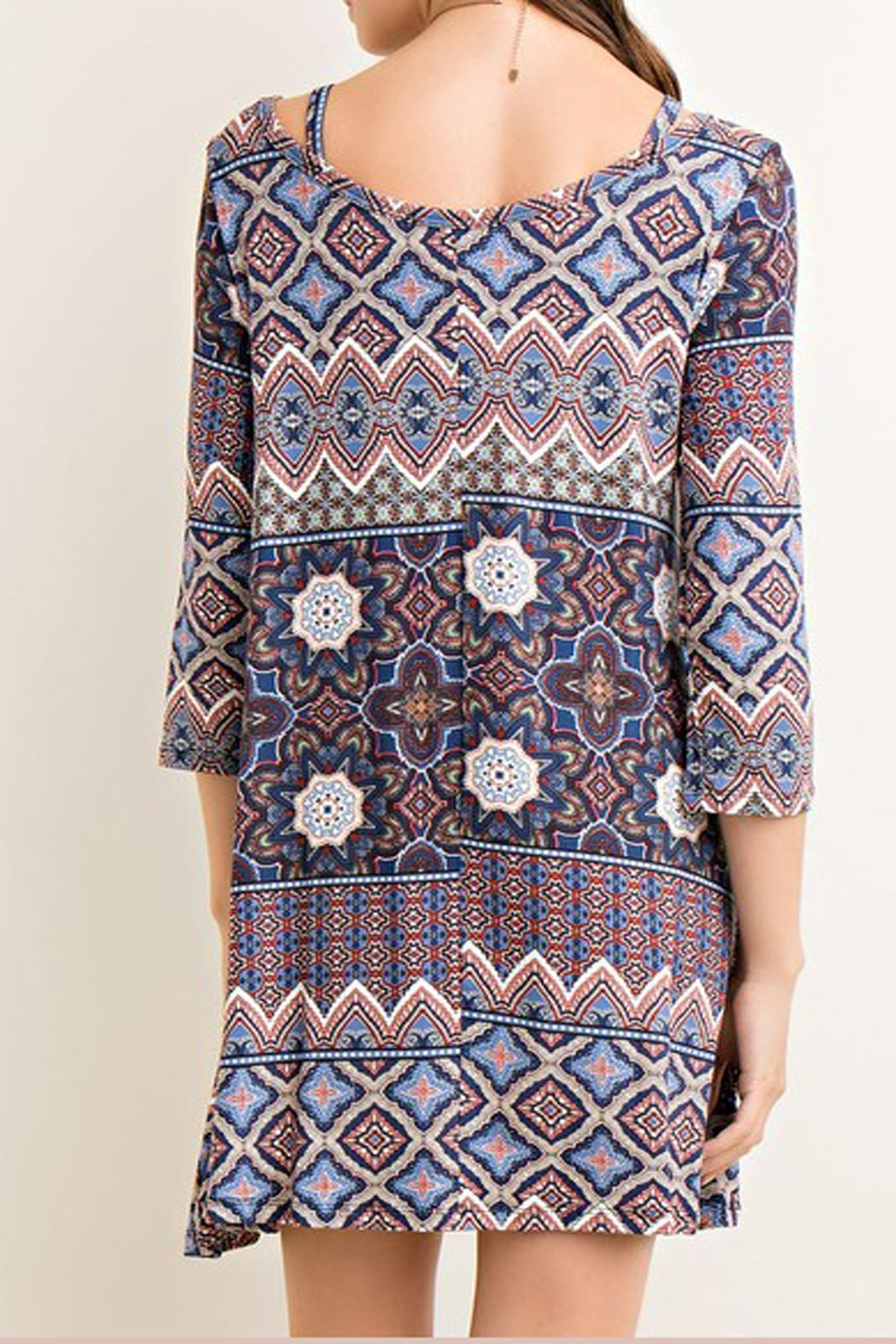 Entro Printed Tent Dress - Back Cropped Image